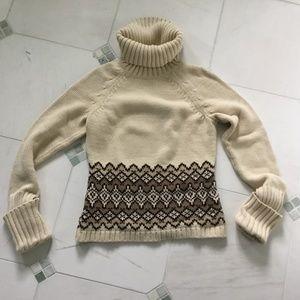 Ann Taylor Loft turtleneck sweater XS beige/brown